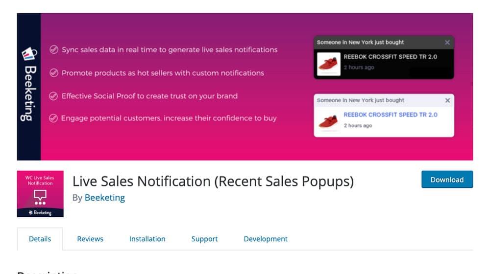 Live Sales Notification