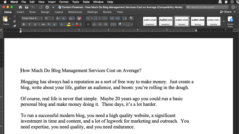 Writing a Blog Post in Word