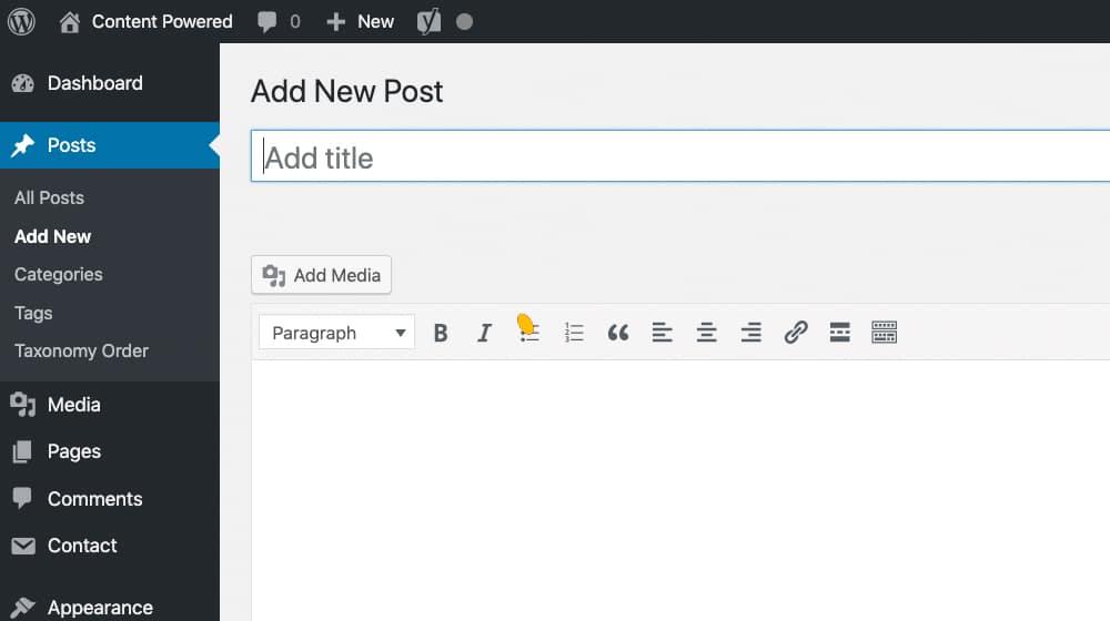 Writing a Post in WordPress