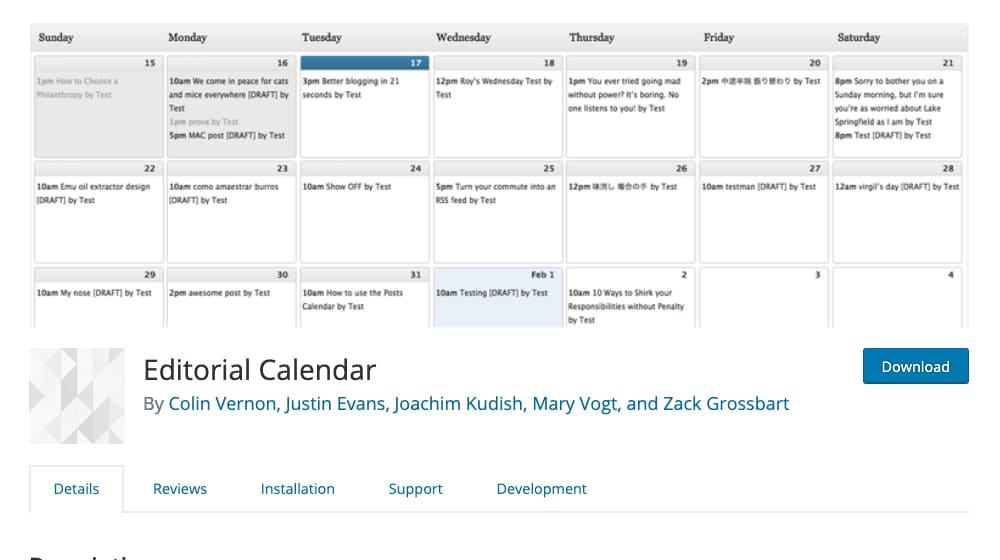 Editorial Calendar Plugin Example