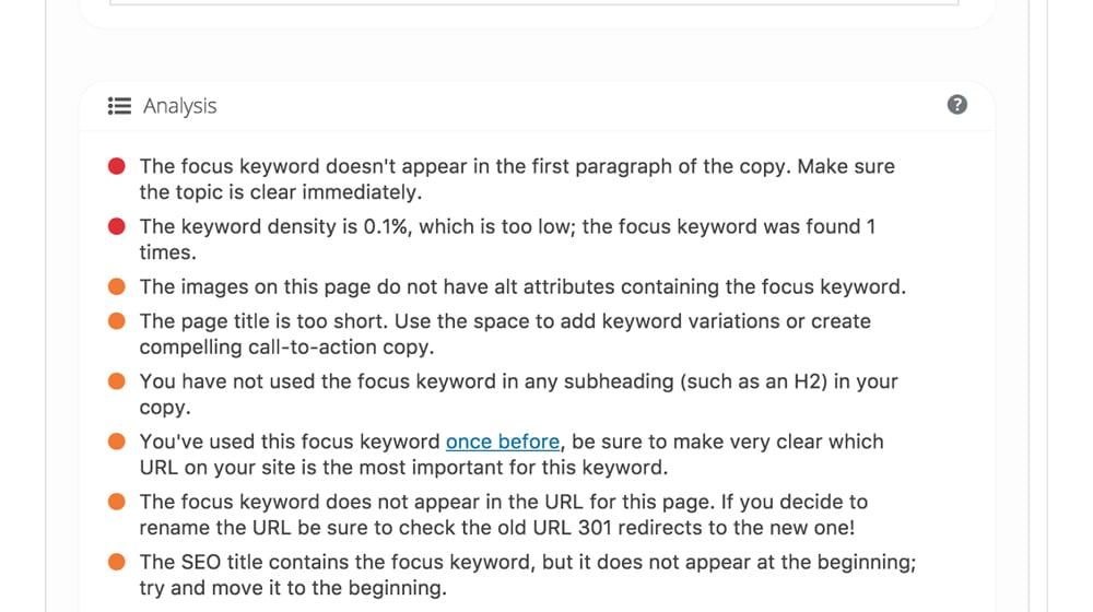Focus Keyword on WordPress
