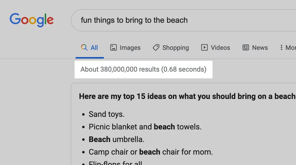 Results on Google