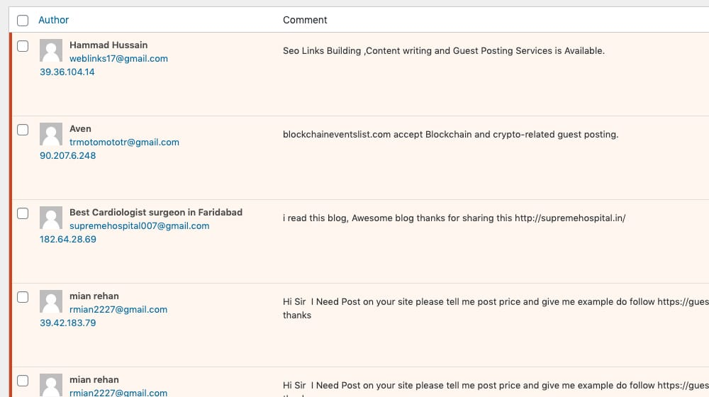 Spam Comments Examples