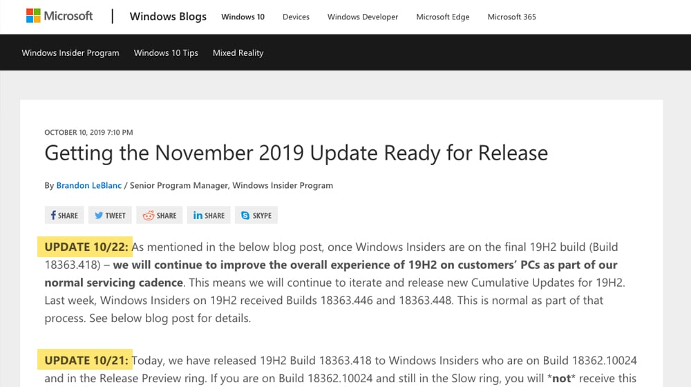 Update Blog Post