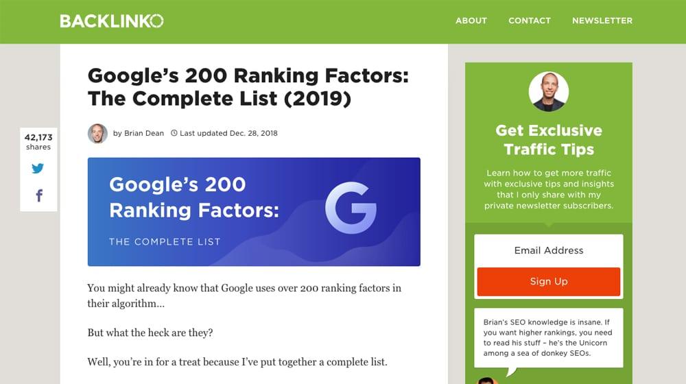 Backlinko Ranking Factors