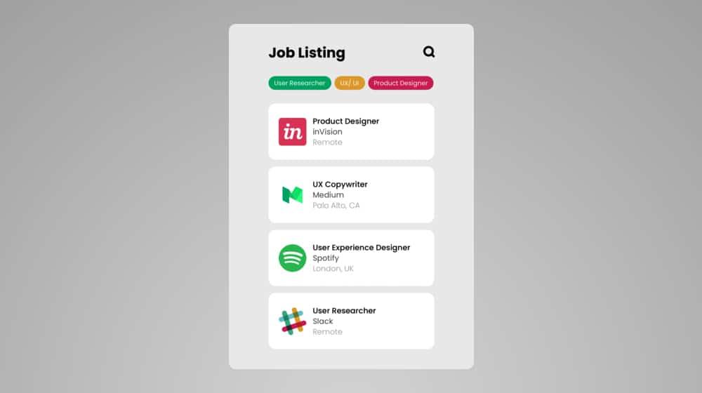 Job Listing Page