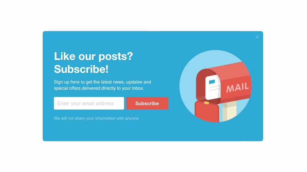 Example Conversion by Newsletter Subscription