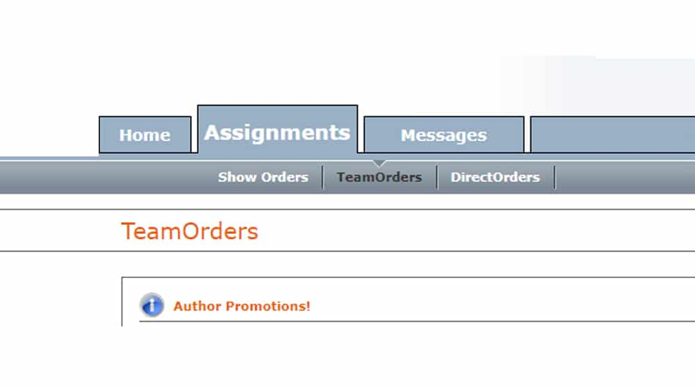 Team Orders on a Content Mill