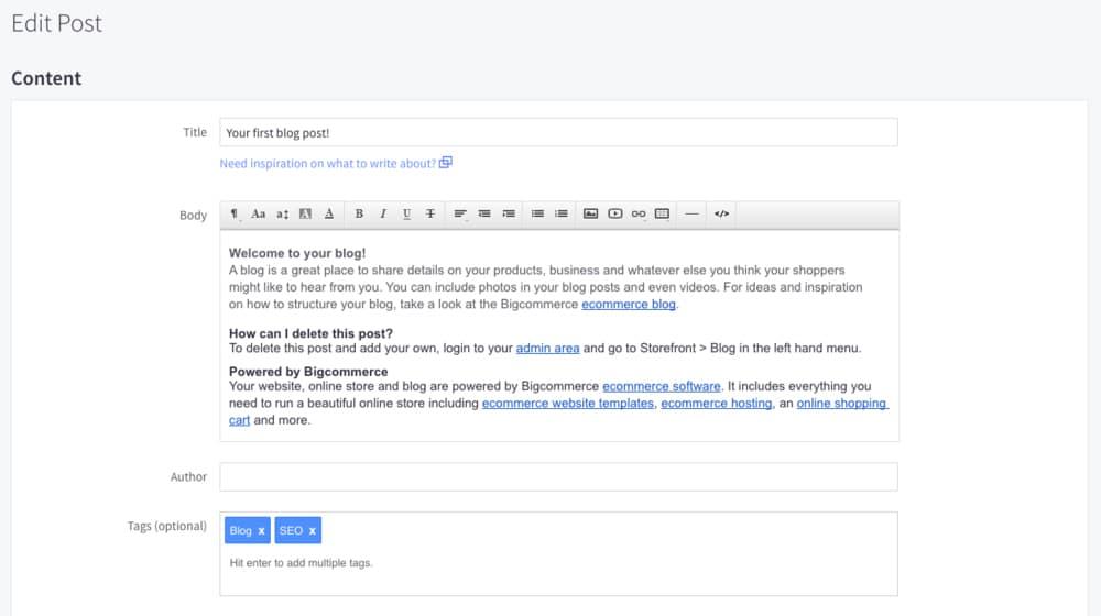 Adding Blog to BigCommerce