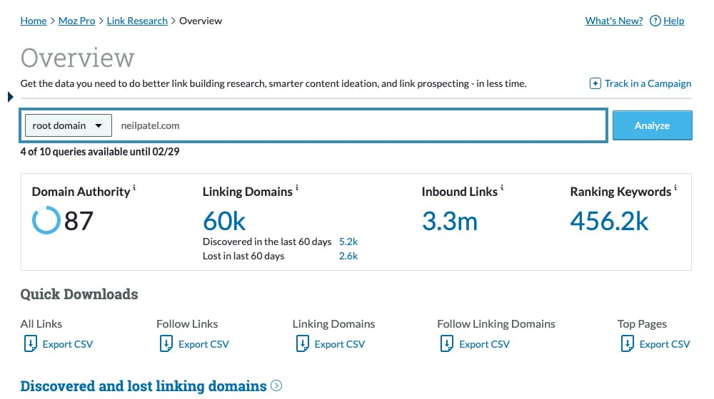 Backlink Example on Moz