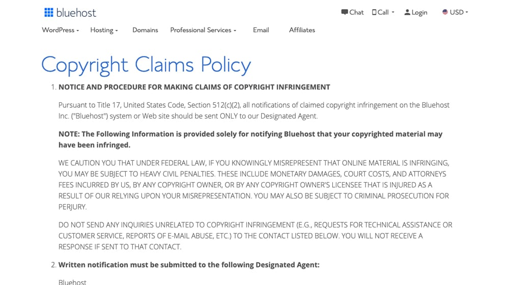Bluehost Copyright Claims