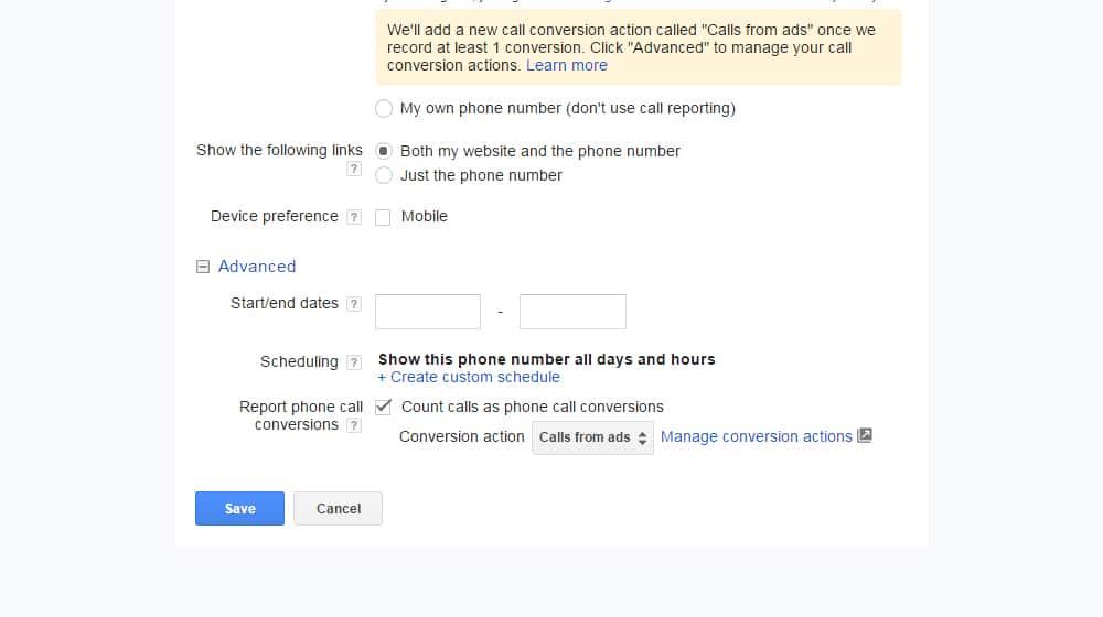 Phone Call Conversions