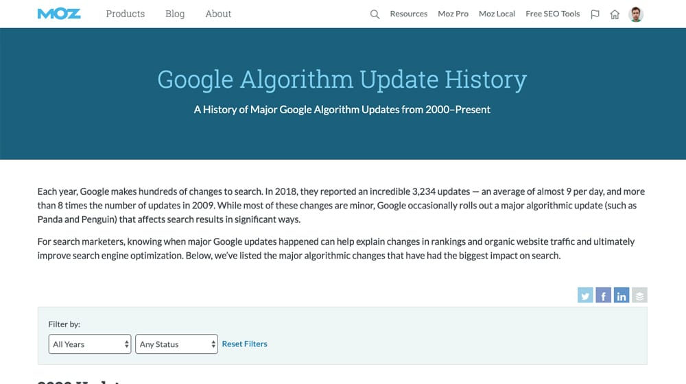 Algorithm Update History Post
