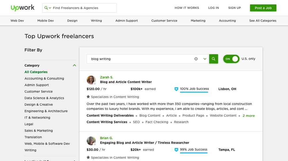 Blog Writing Freelancers on Upwork