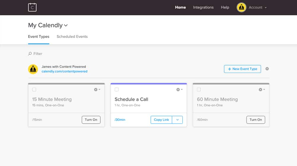 Calendly App Homepage