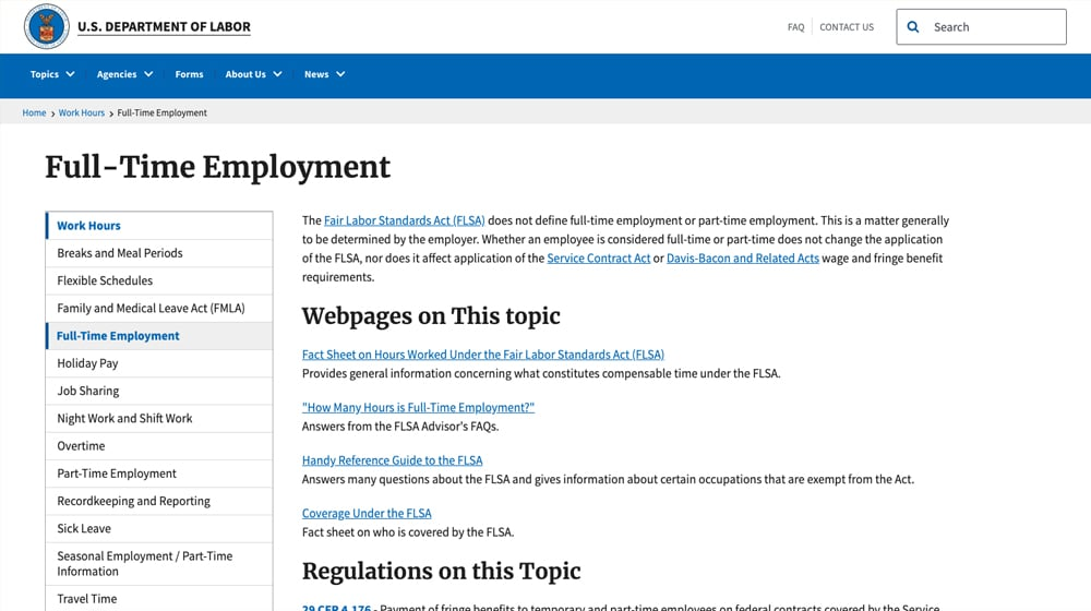 Definition Full Time Employment DOL