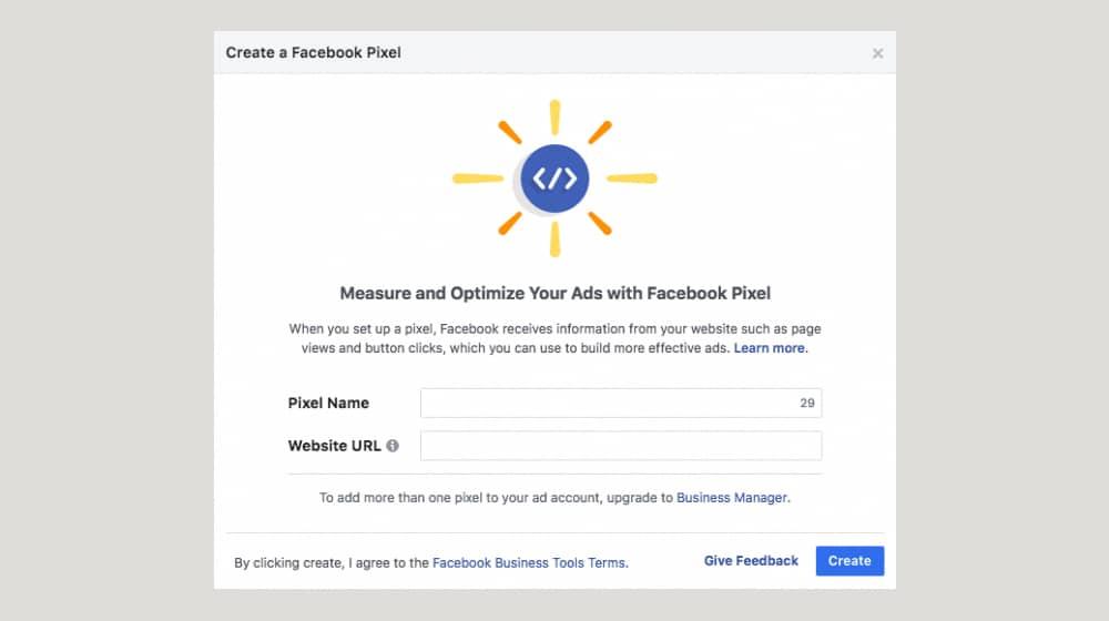 Facebook Pixel Create