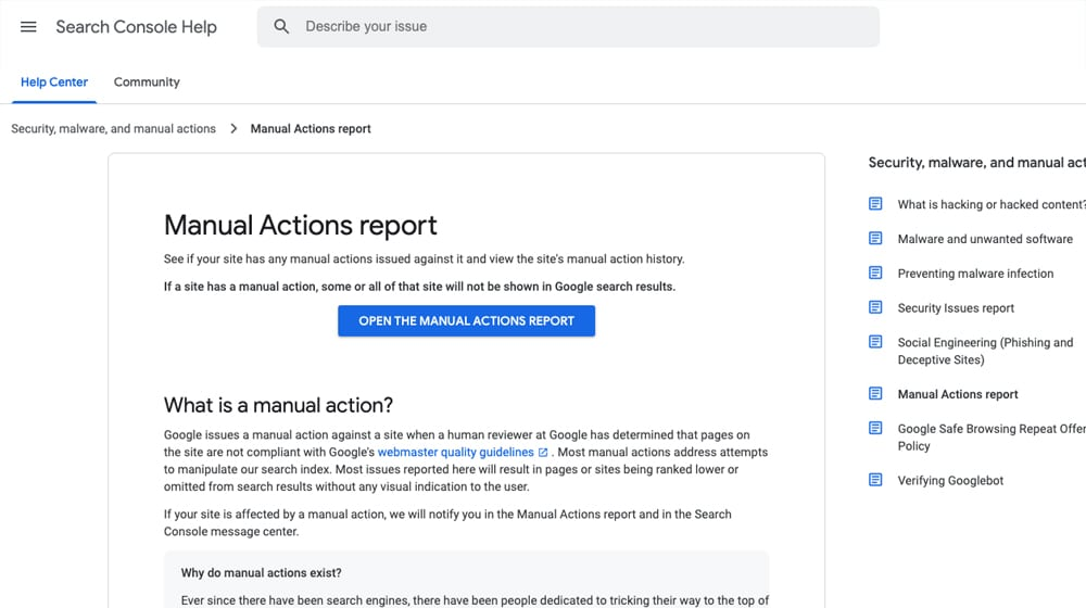 Manual Actions Report