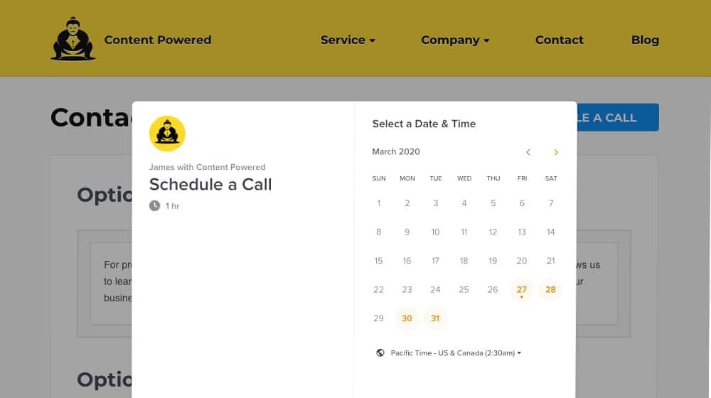 Schedule Call Popup