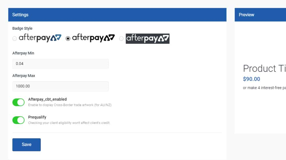 Afterpay Settings