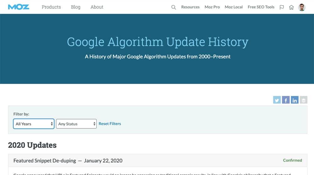 Algo Update History