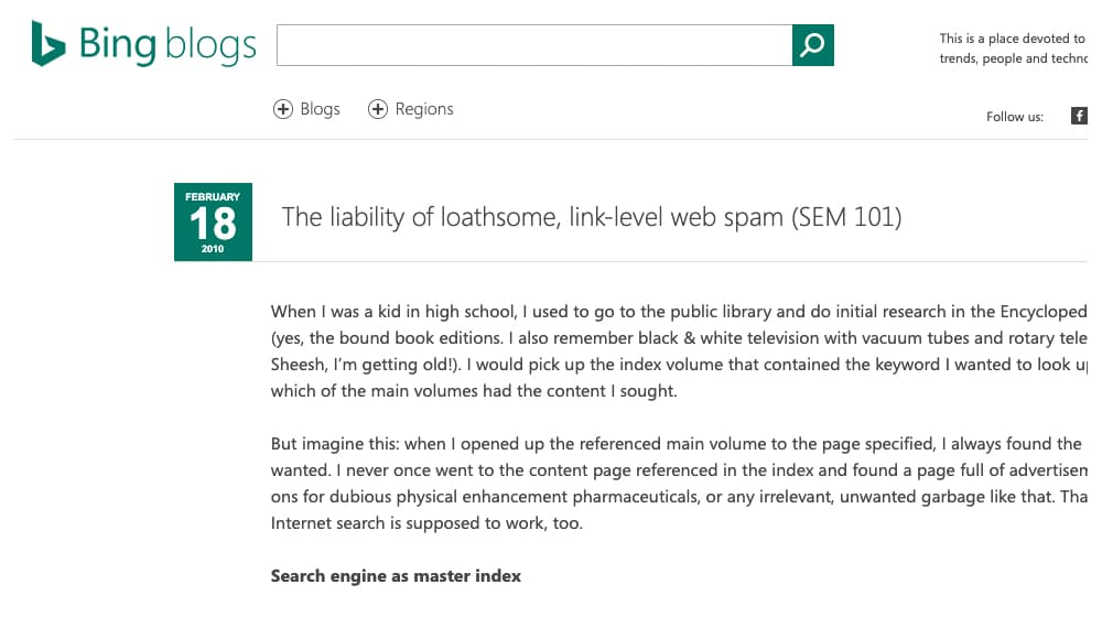 Bing Article on Web Spam