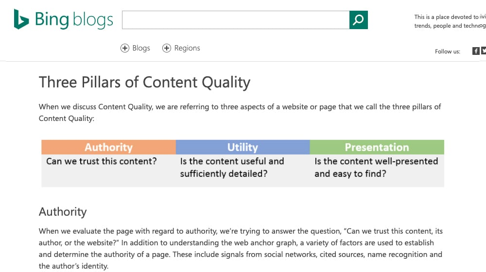 Blog Content Quality Bing