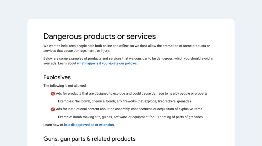 Dangerous Products Example