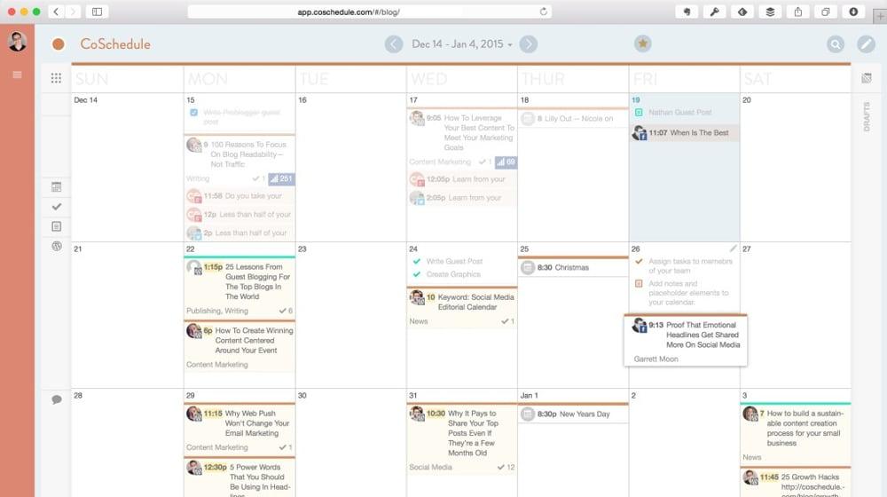 Example Content Calendar