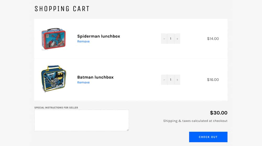 Example Shopping Cart Items