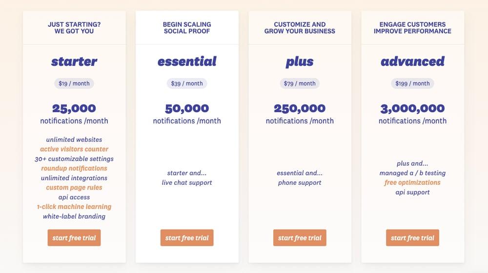 FOMO Pricing Page