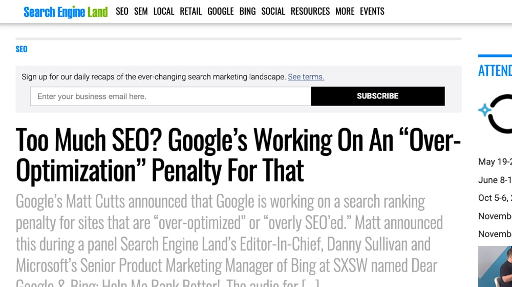 Overoptimization Penalty Google