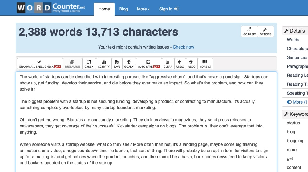 Word Counter Site