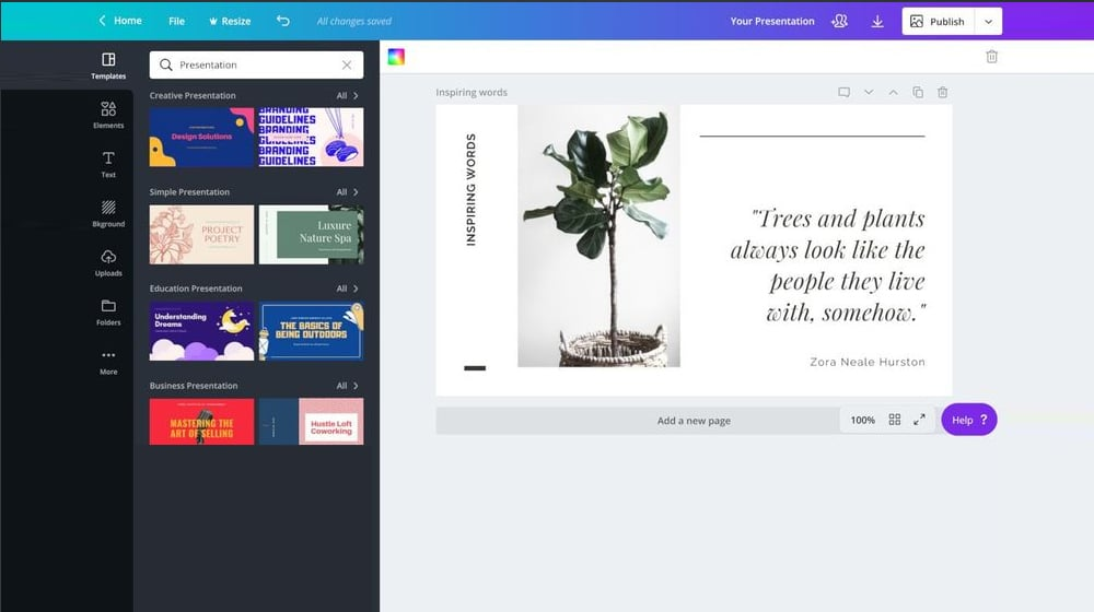 Designing a SlideShare in Canva