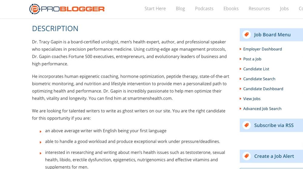 Example Job Description