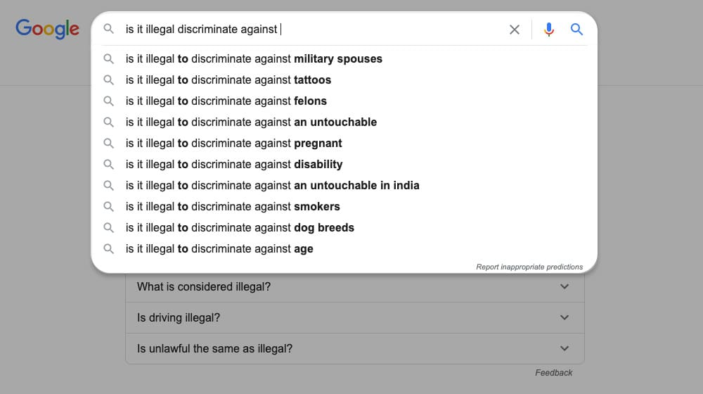 Google Autocomplete Results