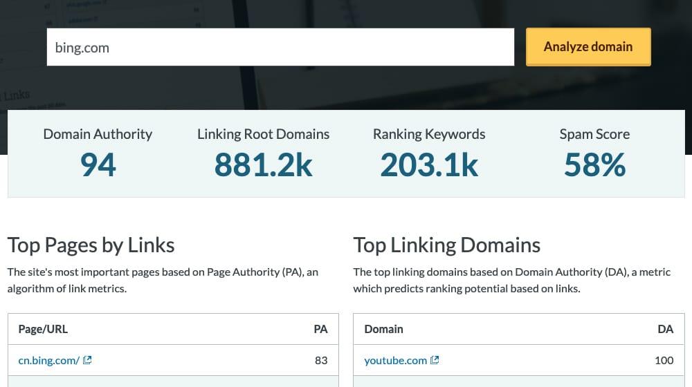 Moz Domain Analyzer