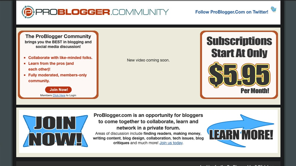 Old ProBlogger Site
