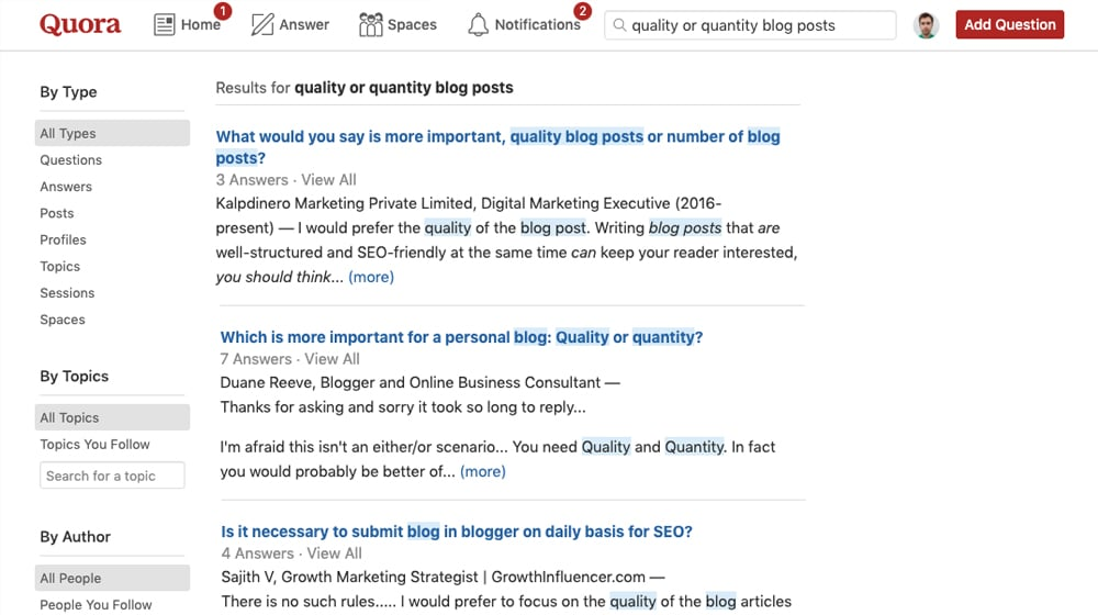Quora Questions on Blog Quantity