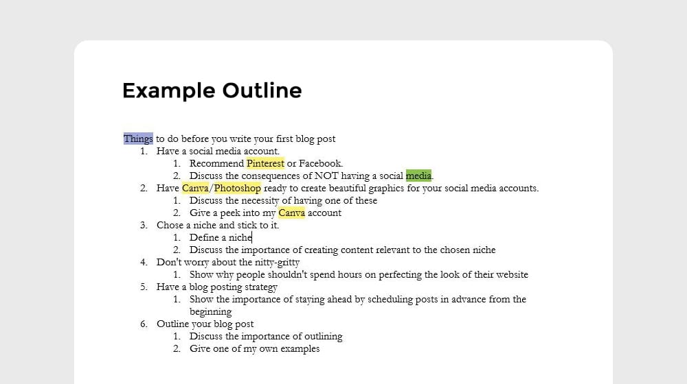Example Post Outline