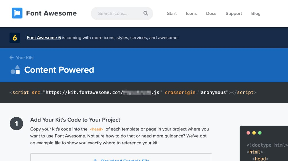 Generate FontAwesome Kit URL