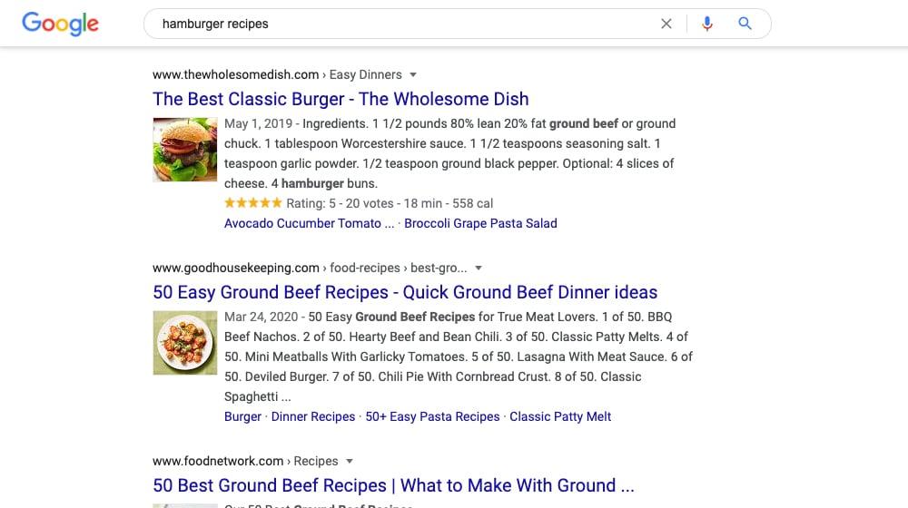 Hamburger Recipes SERPs