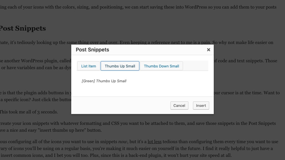 Insert Post Snippets