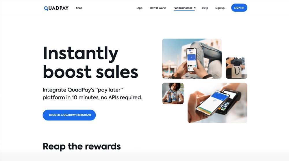 QuadPay Homepage