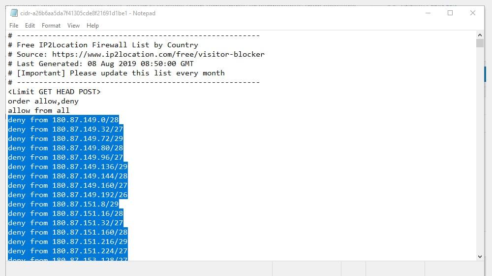 Add IP Blocks Htaccess