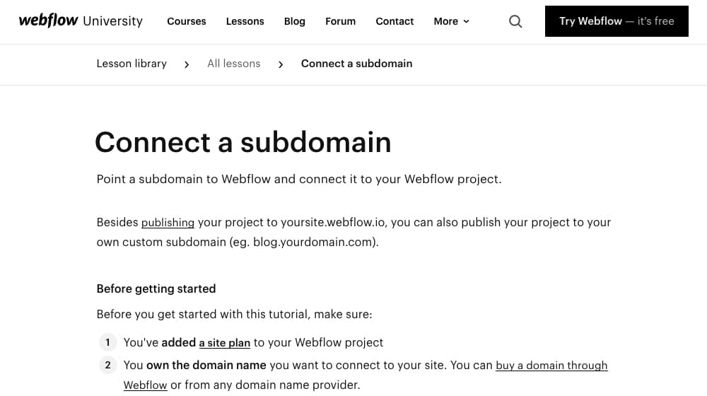 Connect a Subdomain Instructions