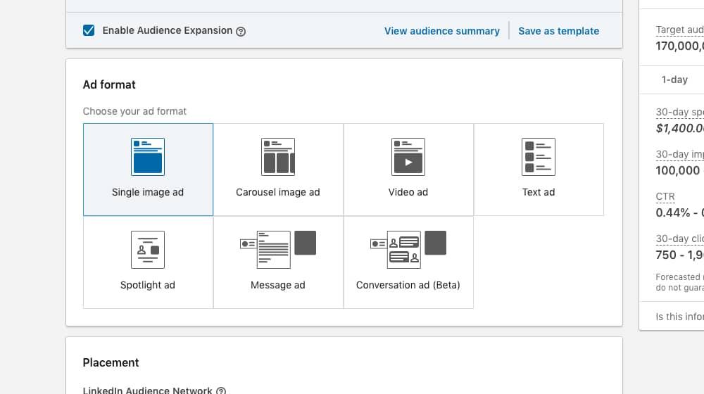 LinkedIn Sponsored Content Ad Formats