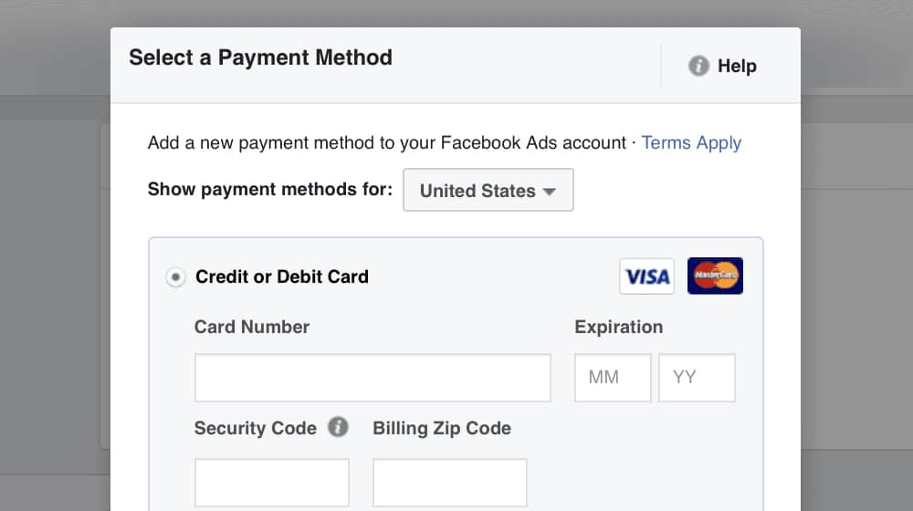 Select Payment Method on FB