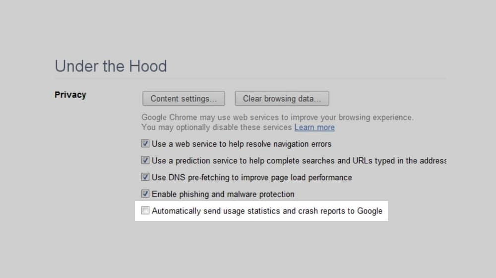 Send Usage Data to Google