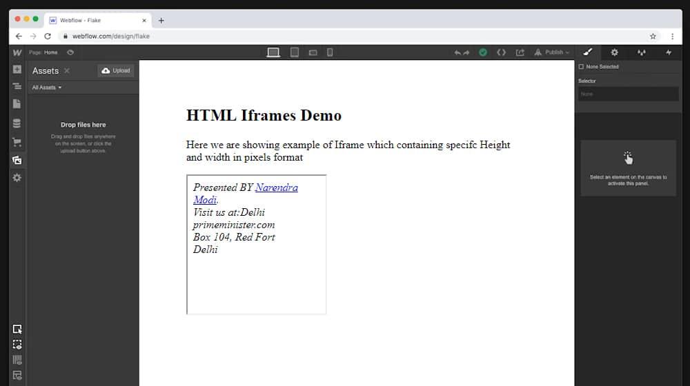 iFrame in Webflow